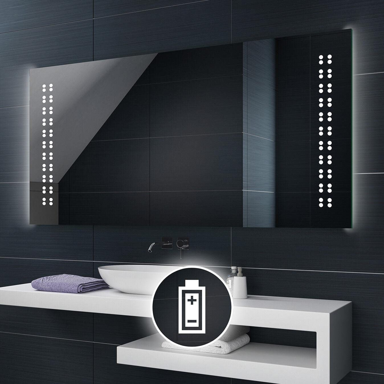 Alimenté par batterie DEL illuminé Miroir de salle de bains Batterie taille personnalisée L55