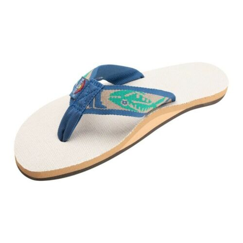 Men/'s XL 11-12 RAINBOW Single Layer Hemp Fish Flip Flops NATURAL w// GREEN FISH