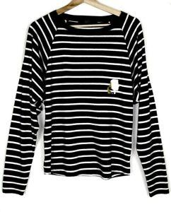 KARL-LAGERFELD-Tee-shirt-manches-longues-raye-noir-blanc-profil-Or-TXS-NEUF