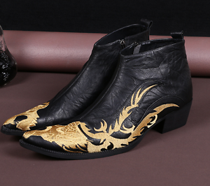 gold Embroidered Dragon Leather Mens Dress Zip Ankle Boots shoes FASHION 2018