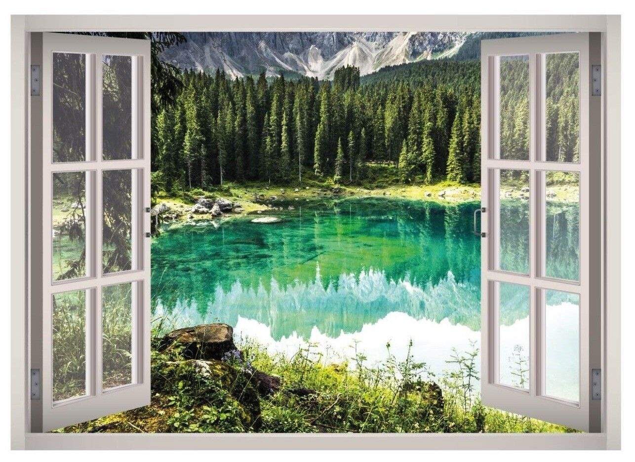 Lake Mountain View Window 3D Wand Decal Kunst Mural Decor Canvas Vinyl W150
