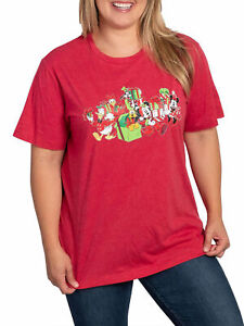 Disney-Mickey-Mouse-amp-Friends-Women-039-s-Plus-Size-Christmas-T-Shirt-Red