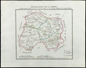 1802 - Carte Ancienne Département De La Marne De Chanlaire. France Performance Fiable