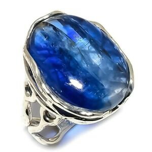 Kyanite-Natural-Gemstone-Handmade-925-Sterling-Silver-Ring-Size-8-SR-216