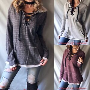 Women s Lace Up Distressed Relaxed French Terry Pullover Hoodie ... 368a6915a