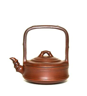 Antiques Asian Antiques Earnest Vintage Chino Yixing Zisha Violeta Arcilla Bambú Form Cerámica Tetera Finely Processed