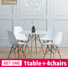 2c5250693ed5 80cm Round Dining Table And 4 Chairs Set Home Office Eiffel Style White Wood  Leg