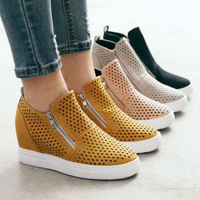 Womens Solid Loafers Platform Hidden Heel Wedge Sneakers Slip On Trainer Shoes
