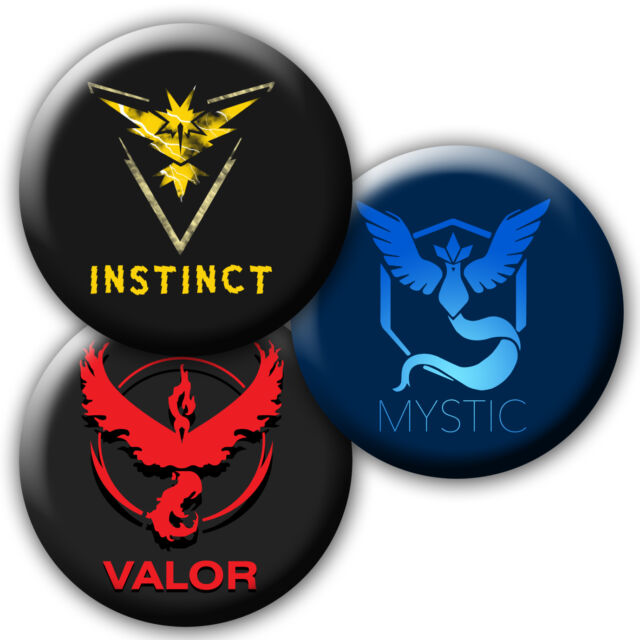 Pokemon aller valor, instinct, mystic team badge/aimants/miroirs/porte-clefs