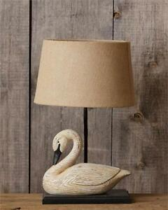 Image Is Loading New Primitive Country BENT NECK GOOSE LAMP Burlap