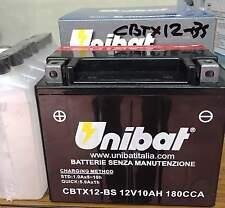 BATTERIA MOTO UNIBAT  CBTX12-BS ,10 AH  AMPERE,12V CON ACIDO A CORREDO