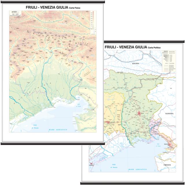Regione Friuli Venezia Giulia Cartina.Friuli Venezia Giulia Carta Scolastica Regionale Murale 97x134 Cm Bi Facciale Ebay