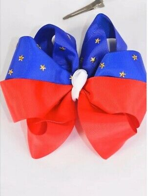 """5/"""" Hair Bow ~ 4th of July  ~ Handmade ~ Red /& Blue with Stars ~ Alligator Clip"""