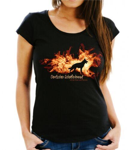 Damen T-Shirt DEUTSCHER SCHÄFERHUND FEUER UND FLAMME by Siviwonder Hundemotiv