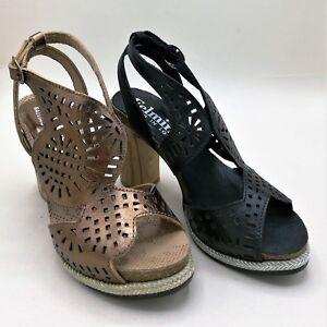 Felmini B064 sandalo in pelle bronzo / nero plateau in sughero con passamaneria