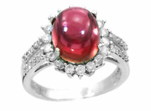 10,46 Ct Rosa Turmalin & Diamant Ring In 14k Weiss Gold