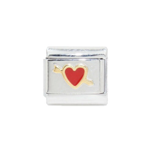 a Italian Charm fits 9mm classic Italian charm bracelets Red heart with arrow