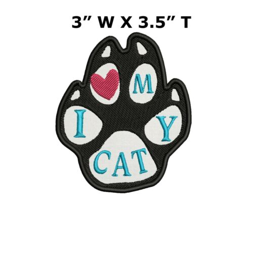 Black White I Love My Cats Animal Paw Print Embroidery Patch