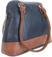 Gigi Othello Two Tone Navy Blue / Mid Brown Soft Leather Shoulder Handbag 8701