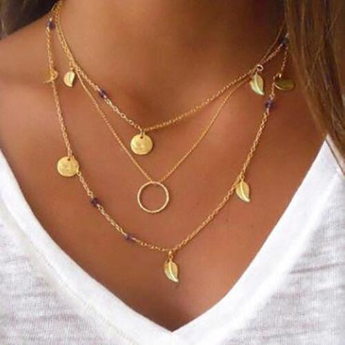 Women Statement Bib Pendant Necklace Leaf Multi-layer Chain Black Beads Choker