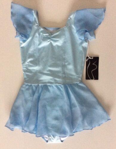 Bloch enfant CL7092 bleu pastel Viola dos en dentelle à revêtement Justaucorps Âge 4-6 NEUF