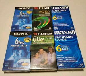 Lot-6-New-Factory-Sealed-VHS-Tapes-Fuji-Fujifilm-Maxwell-and-Sony-All-6-Hours