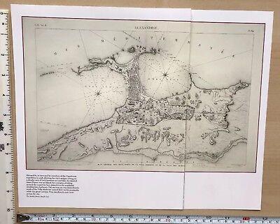 "Alexandria Antique vintage historical map 1700s Egypt 13 X 8/"" Reprint 1798c"