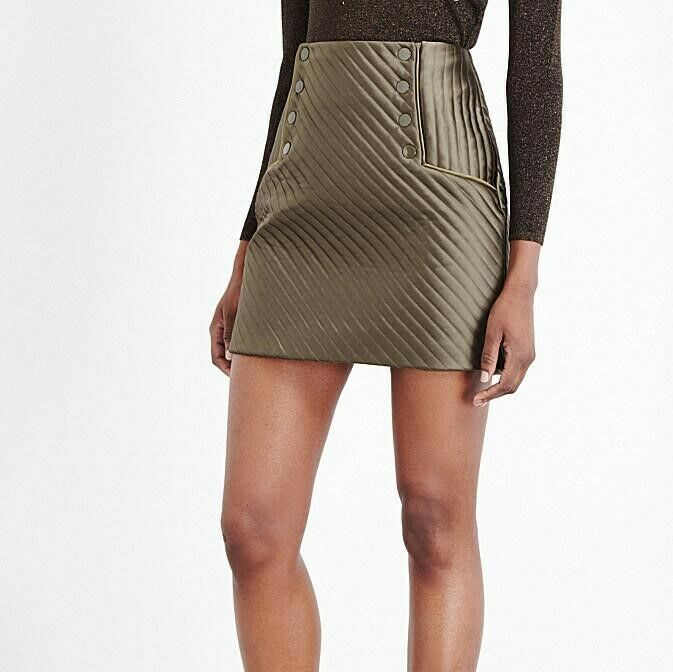 SANDRO Paris Women's WOMB Mini Skirt Quilted Olive Green Size 1