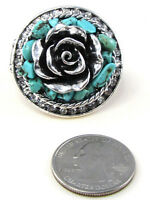 Silver Toned Flower Stretch Ring With Turquoise Stones And Clear Rhinestones