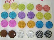 12 Pairs Multi Color Circle Plastic Metal Post Earrings KT17