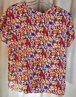 Christie & Jill Women Size S Polyester Short Sleeved Multi-colored Blouse