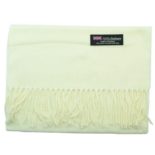 Men Women Unisex 100/% Cashmere Warm Plain Scarf Pure Solid Wool Scotland White