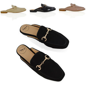 Womens-Flat-Backless-Loafers-Ladies-Buckle-Smart-Slider-Slip-On-Casual-Shoes-3-8