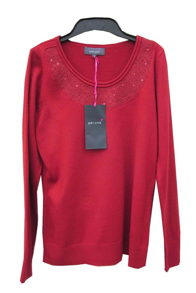 Per Una Rouge Pull Taille 8 Avec Sequins Trim & Manches Longues