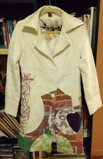 Desigual Multi Colored White Red Trench Coat Jacket Textured Womens L M S 4 6 40