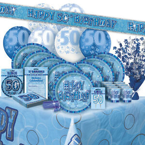 age-50-ans-50EME-ANNIVERSAIRE-BLUE-GLITZ-GAMME-FETE-Ballon-Decorations-Banniere