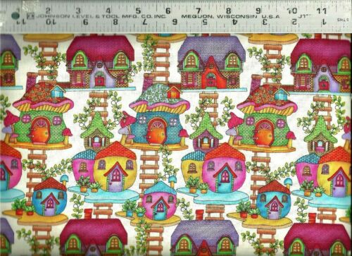 Studio E ~ Fairy Land Colorful Fairy Houses Vines 100/% Cotton Quilt Fabric BTY