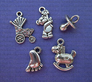 50 mixed baby charms 15mm silver tone jewellery making pendants image is loading 50 mixed baby charms 15mm silver tone jewellery aloadofball Image collections
