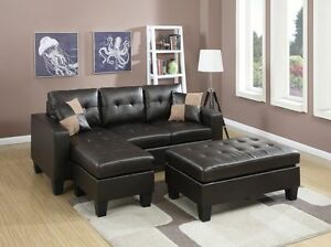 Living Room Reversible Sectional Sofa Cocktail Ottoman Bonded Leather Espresso