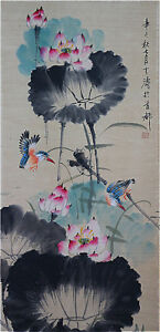 Excellent-Chinese-100-Hand-Painting-amp-Scroll-Lotus-amp-Birds-By-Wang-Xuetao-B