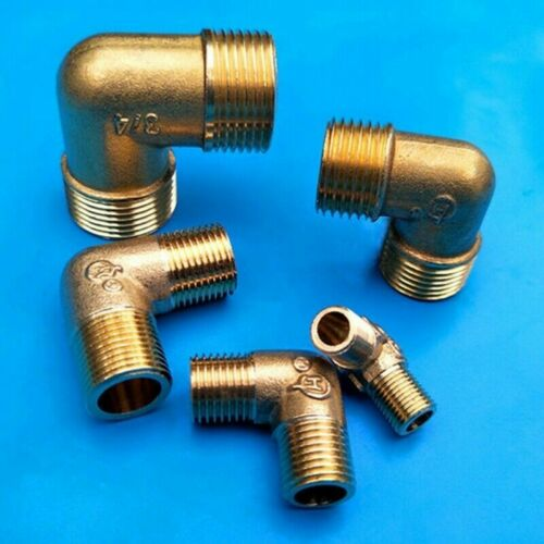 2x Brass Male Elbow 90-Degree MIP X MIP Adapter Connector Plumbing Fittings Kits