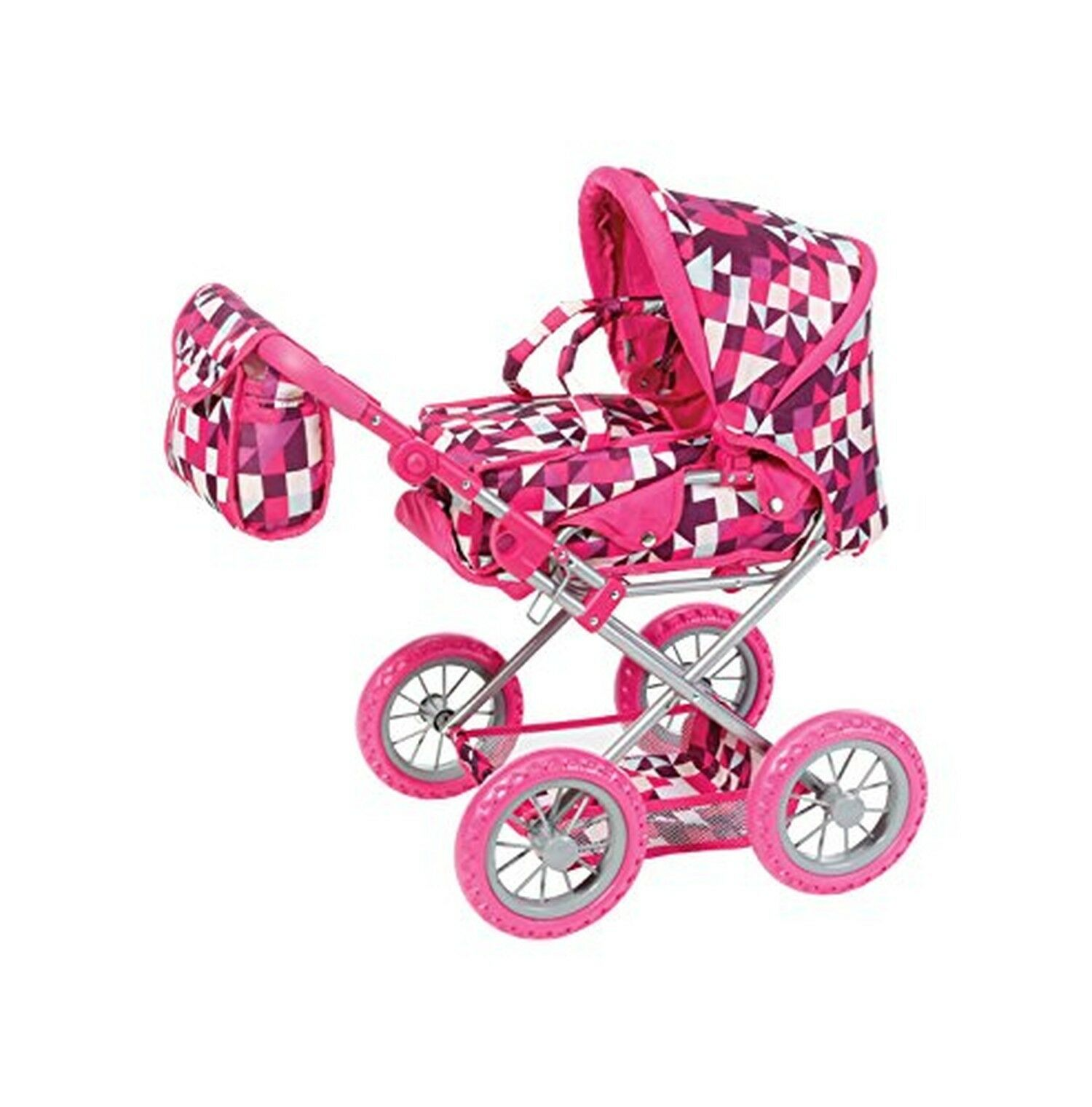 Knorrtoys 63194 knoortoys Doll Carriage Ruby-Crazy Squares, Multi Farbe