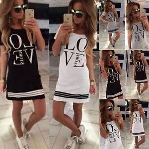 UK-Womens-Cotton-Casual-Love-Long-Tops-Blouse-Ladies-Short-Sleeve-Mini-Dress