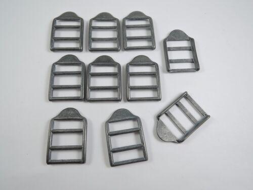 10 x 18mm Grey Metal Waistcoat Adjustable Buckle Sliders Fasteners