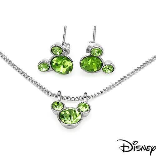 Disney Mickey Mouse Necklace /& Earrings set W//Genuine Crystal in Base Metal
