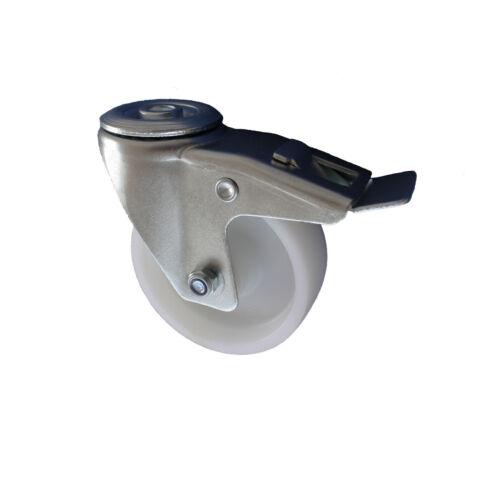 Set 125 mm 2+2 Kunststoffrad Transportrollen Lenkrollen Rückenlochbefestigung A1