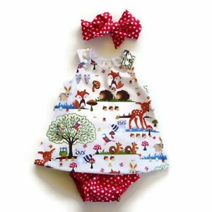 NWT-Girls-size-6-Months-Precious-RED-Forest-3-Piece-Dress-Bloomer-Bow-Outfit-6M