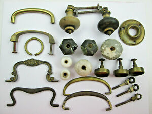 Vintage-Drawer-Handles-Knobs-Pulls-Lot-Metal-Glass-Ceramic-Wood-All-Used