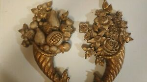 SYROCO-Lot-of-2-Gold-Colored-Wall-Plaque-Floral-amp-Fruit-Decorative-USA-Made-Vtg