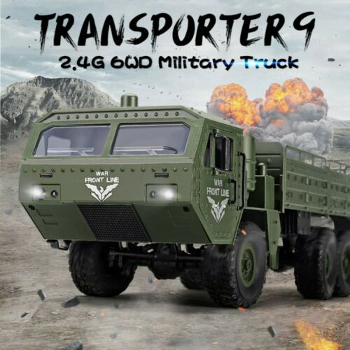 2.4GHZ RC Military Truck Army 1:16 6WD Tracked Wheels Crawler Off-Road Car RTR